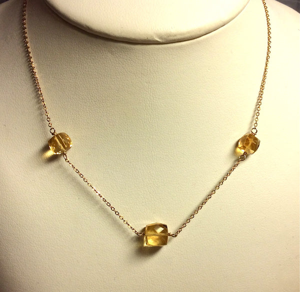 Citrine 3 cube necklace, 14K g/f chain, 17""