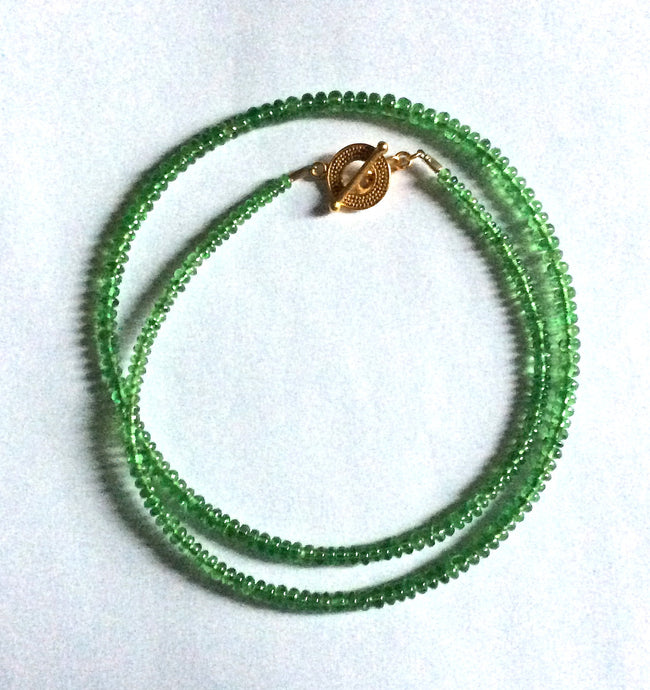 "Tsavorite Garnet smooth rondelle necklace, 17.25""long"