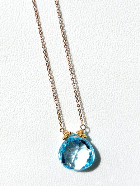 Blue topaz drop necklace, Swiss blue topaz Necklace drop, Stephany Hitchcock Blue topaz drop