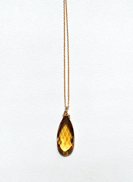 "Citrine drop necklace, citrine necklace drop, Stephany Hitchcock citrine drop, November Birthstone,  citrine Necklace, 16"" gold filled chain, Hand made,  citrine drop on 14K g/f chain, Citrine necklace, elegant citrine necklace, citrine and gold"