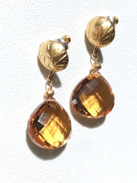 "Citrine drops on  24K vermeil ""leaf"" posts, Citrine earrings, Stephany Hitchcock citrine  earrings, November Birthstone,  Hand made, Citrine, elegant citrine earrings , citrine and gold"