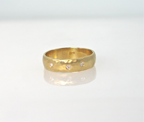 18K yellow gold 5mm flat hammered band, matte finish style. R420, 3 diamonds. Available in other sizes, and, in 18K or 14K  rose, white, yellow or green gold, or platinum  with or without diamonds. Stephany Hitchcock Designs, www.StephanyHitchcock.com