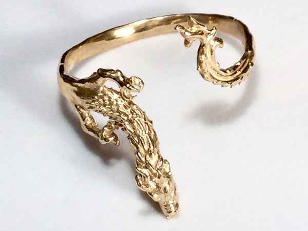 Dragon and Wave Cuff Bracelet