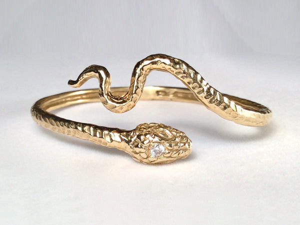 Snake with Winding Tail Cuff Bracelet