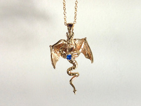 Dragon and Sword with Gem, Leather Cord