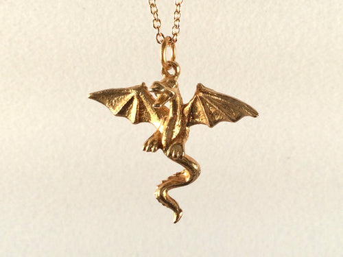 Flying Dragon necklace on chain, Dragon necklace, golden bronze dragon necklace