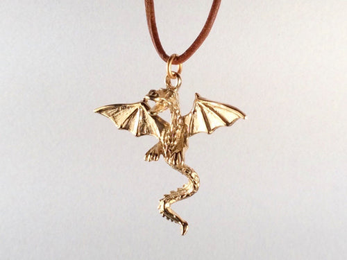 Large Dragon Pendant with Scales, Leather Cord