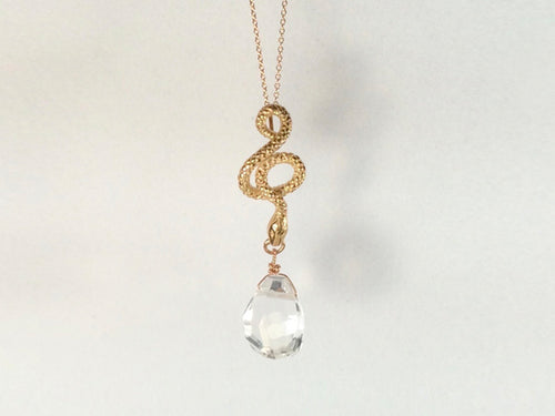 Snake Pendant with Quartz Drop