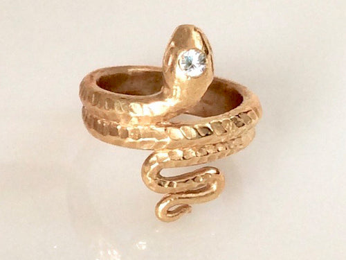 Classic Snake Ring with CZ, Classic Snake ring, Snake ring, snake ring with scales, vintage snake ring, Stephany Hitchcock Designs, gift for her, gift for girlfriend, birthday gift wife, spiritual gift, special gift for her