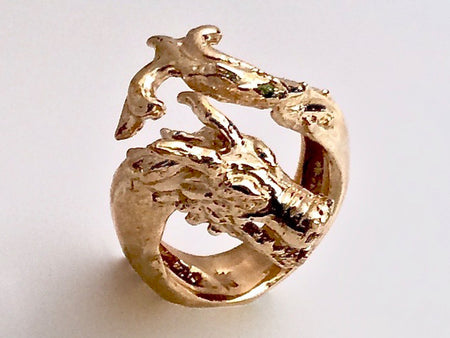 Snake Head with Leaf Ring