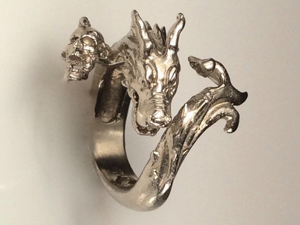 Dragon ring with wave tail and skull, dragon ring, golden white dragon ring, dragon with horns and skull ring, Men's dragon ring