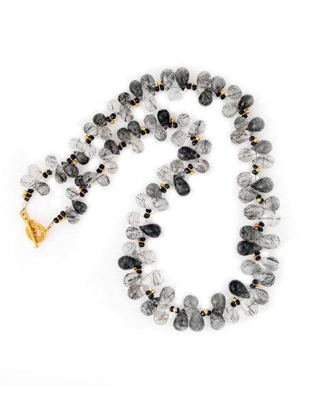 Tourmalinated quartz and black spinel necklace with vermeil beads and toggle clasp