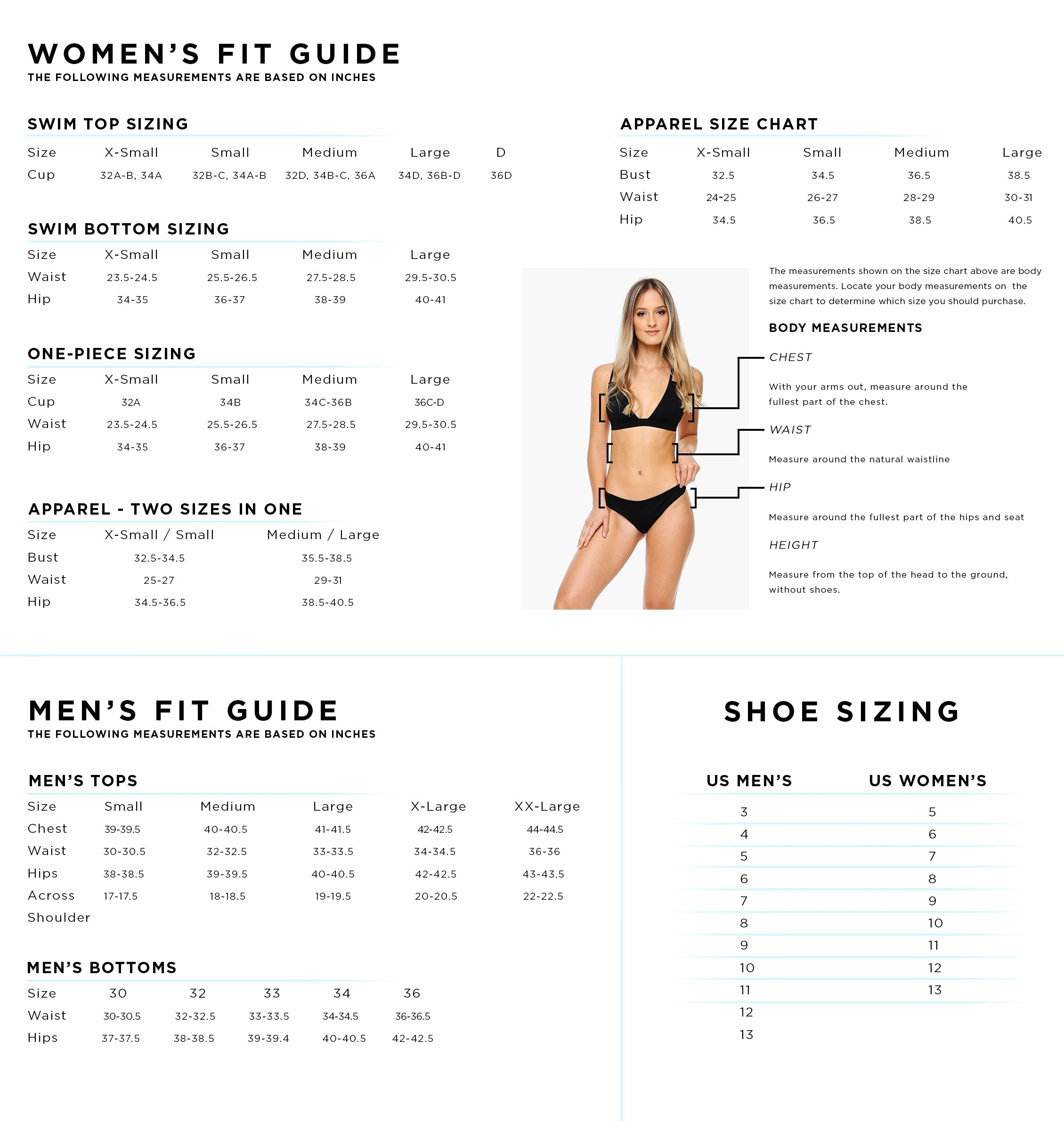 Men's and Women's Shore size chart