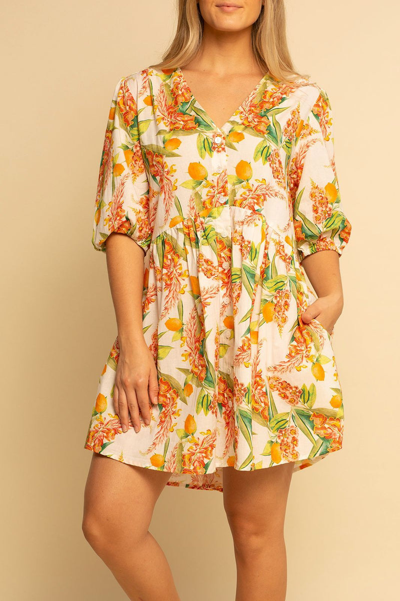 Charleston Babydoll Dress - Sunshine Citrus - Shore