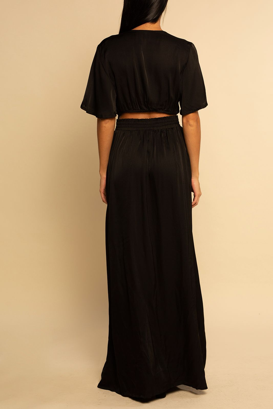Catalina Cut Out Maxi - Black Satin - Shore