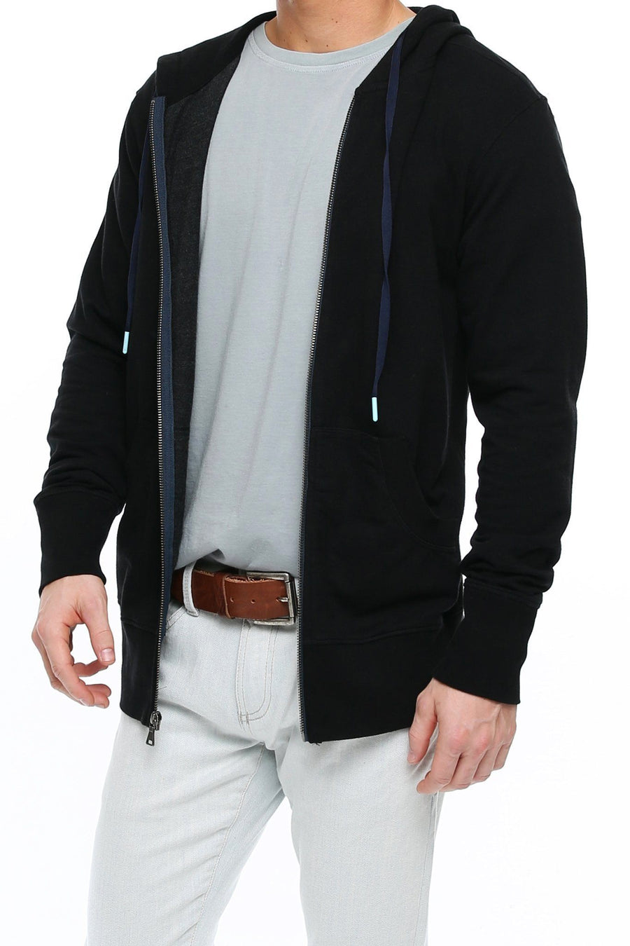 Long Sleeve Zip Hoodie - Black - Shore