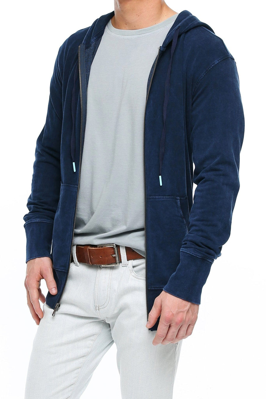 Long Sleeve Zip Hoodie - Navy Mineral - Shore