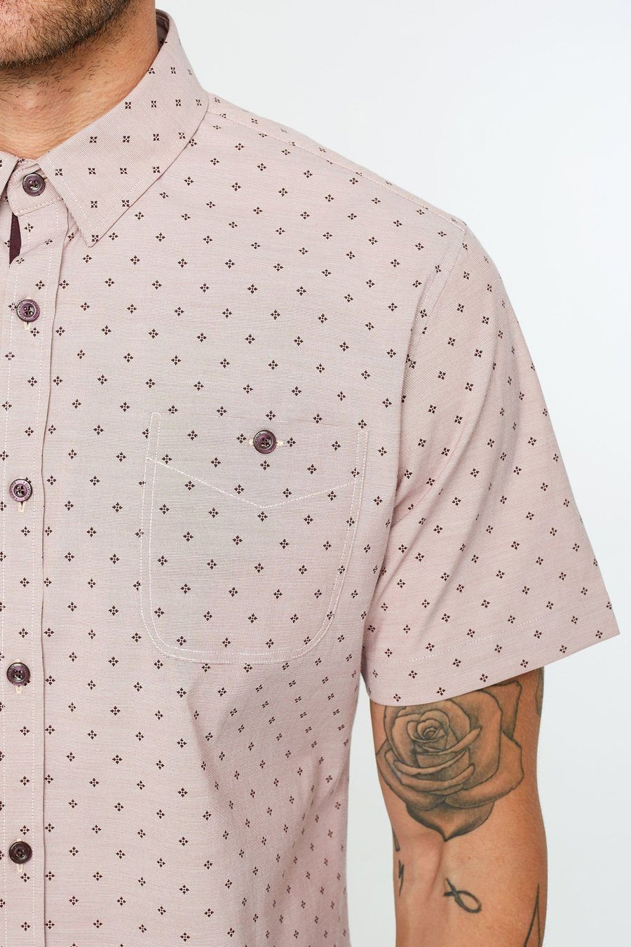 Slow Blues Short Sleeve Shirt - Red - Shore