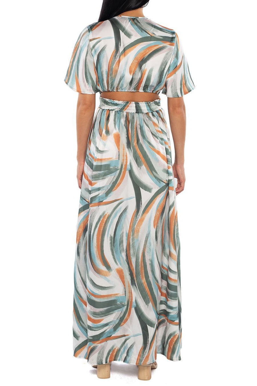 Catalina Cut Out Maxi - Watercolor Stripe