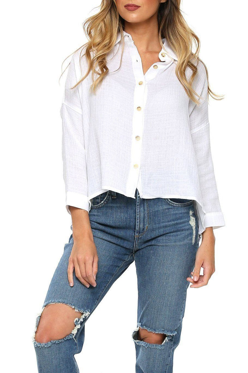 Antigua Button Down Top - White - Shore