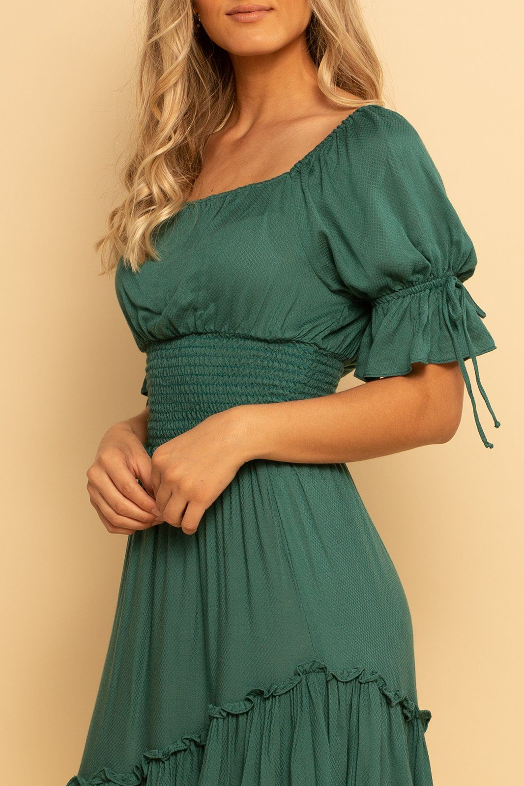 Barcelona Smocked Top - Teal - Shore