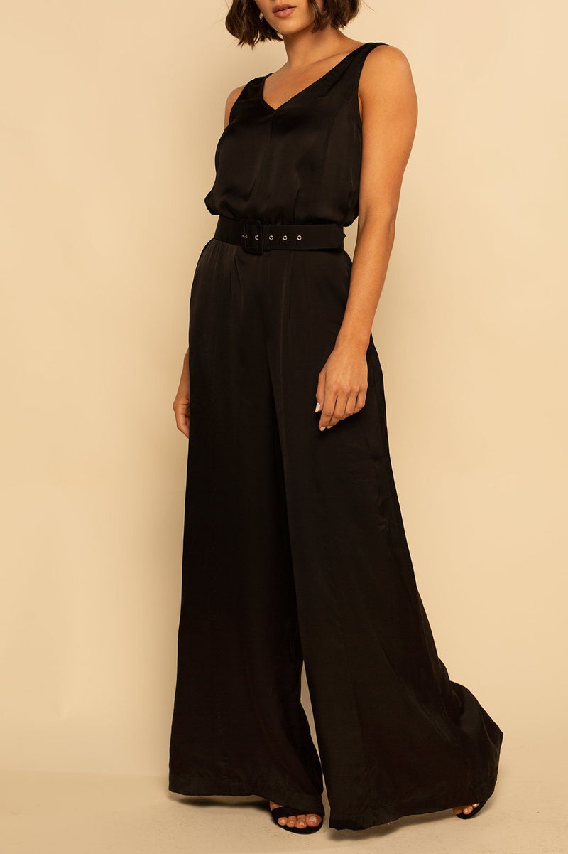 Belize Wide Leg Jumper - Black Satin - Shore