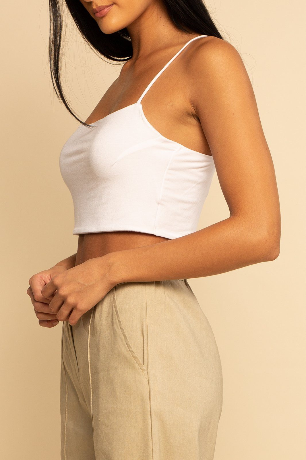Siro Modal Crop Tank - White - Shore