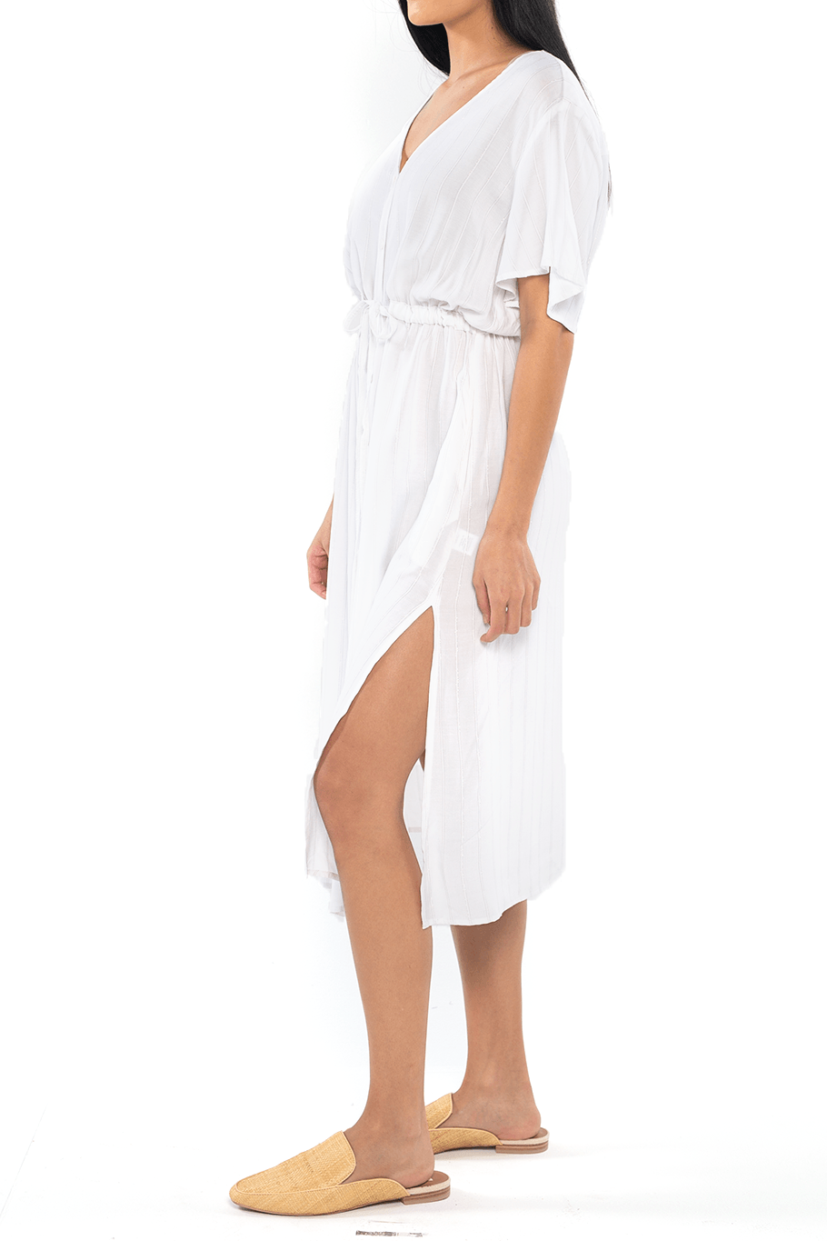 Madrid Midi Dress - Lurex Stripe - Shore