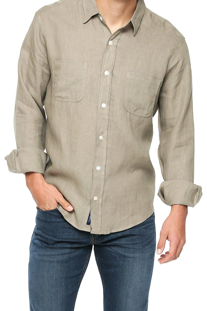Button Down Linen Shirt - Granite - Shore