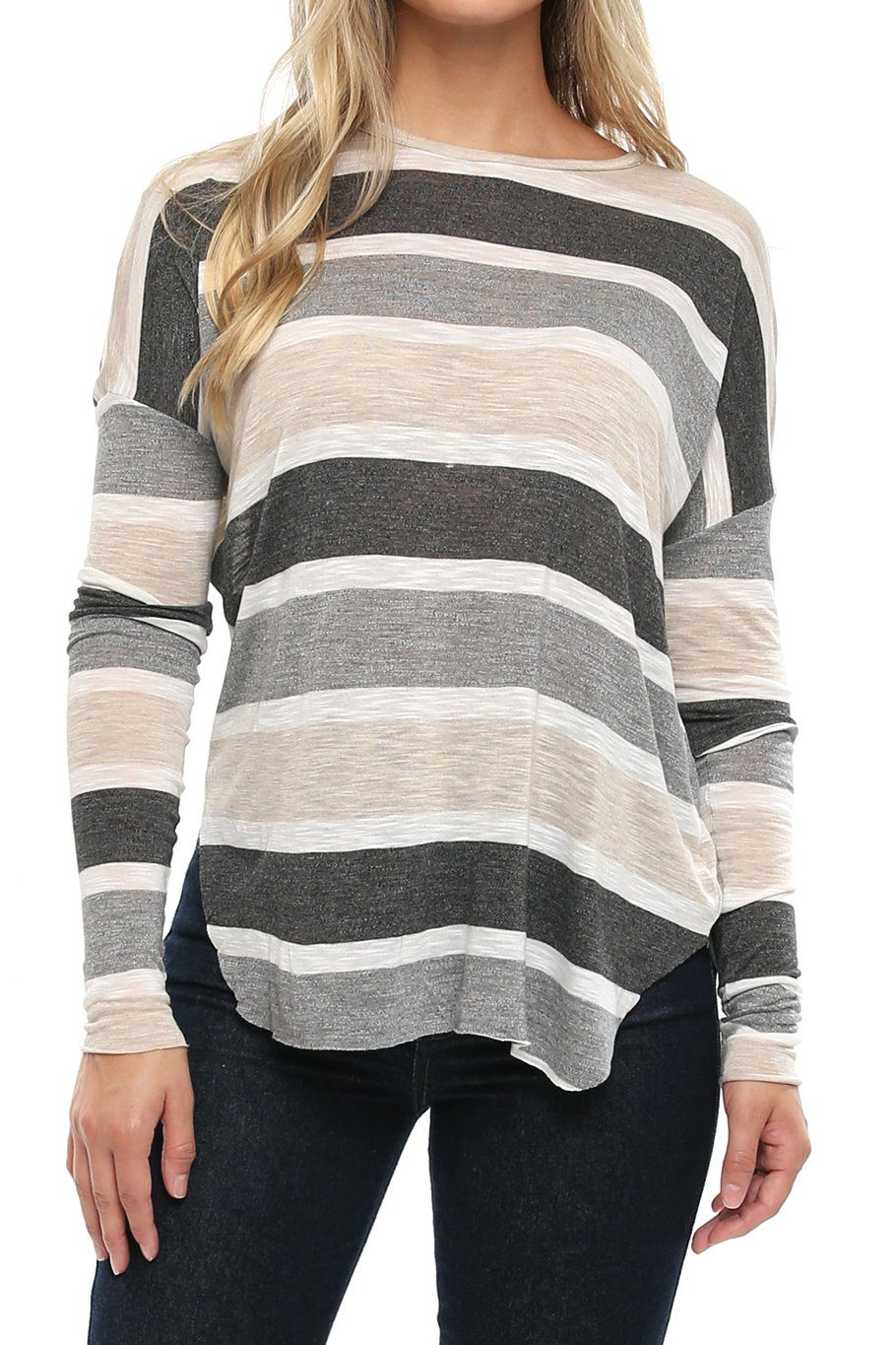 All Day Dolman Tee - Nude Stripe - Shore