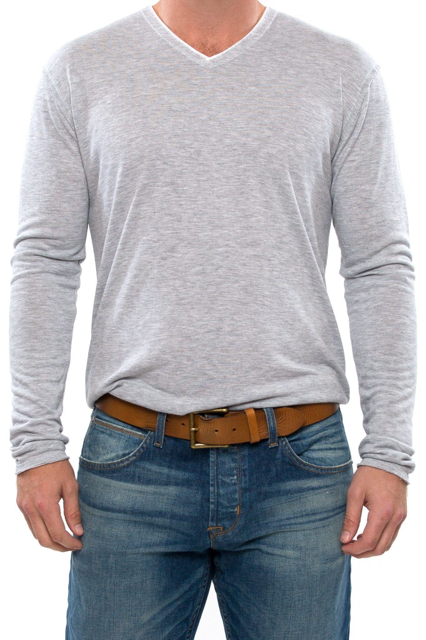 Raw Edge Long Sleeve V-Neck Shirt - Optic White - Shore