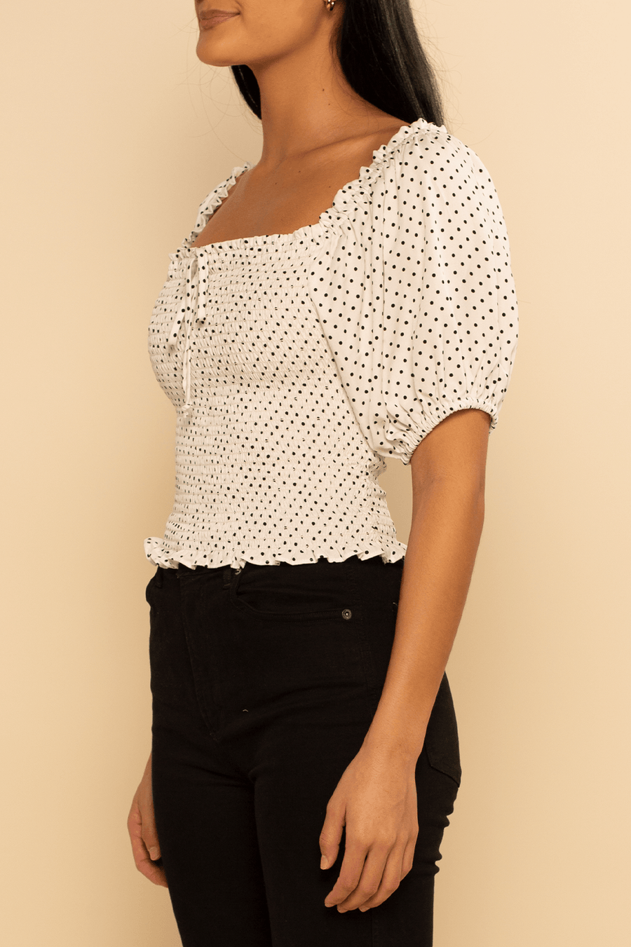 Panama Puff Sleeve top - Polka Dot - Shore