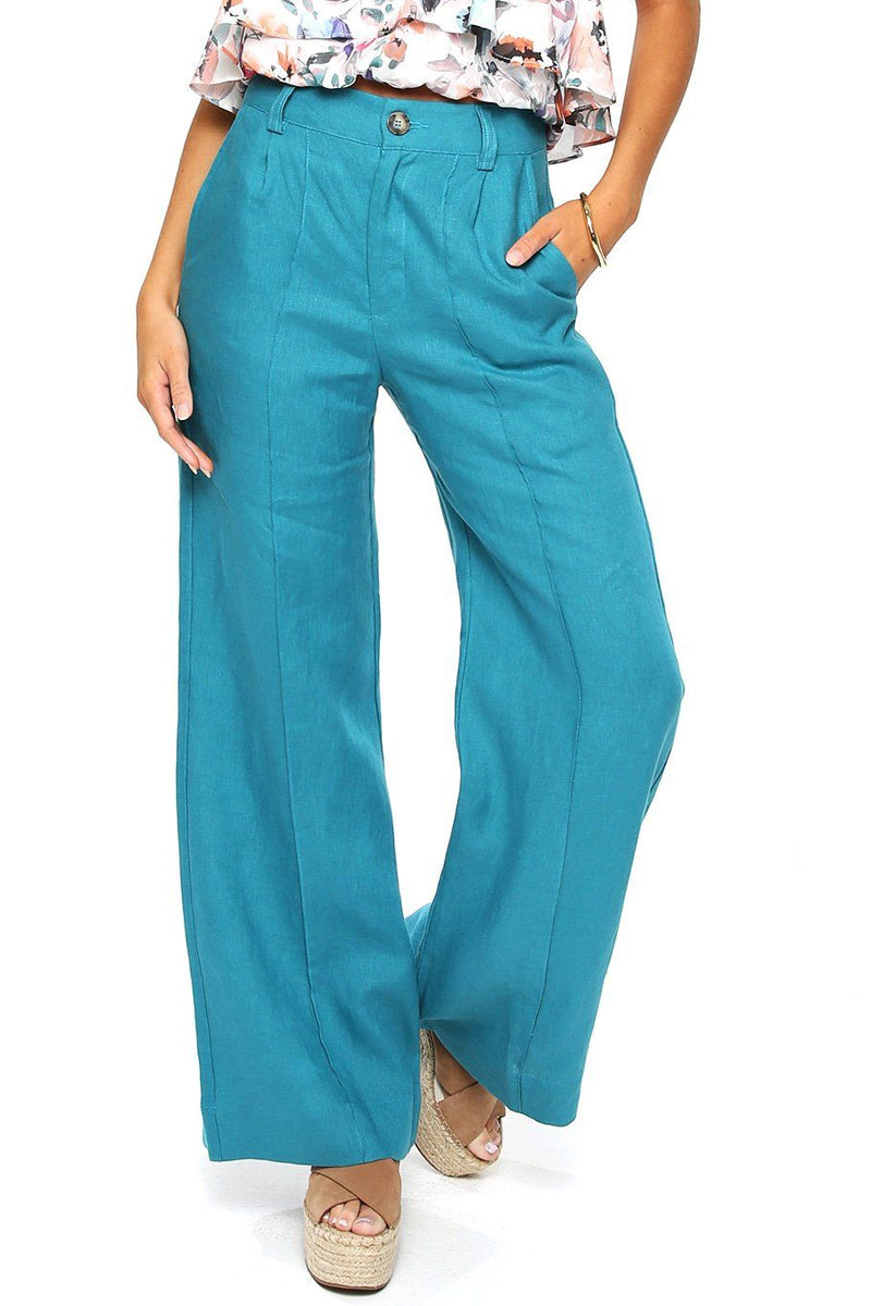 Linen Trouser Pant - Teal - Shore