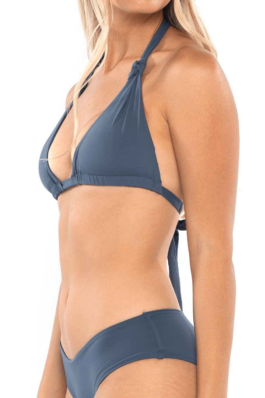Knot Halter Top - Steel Blue