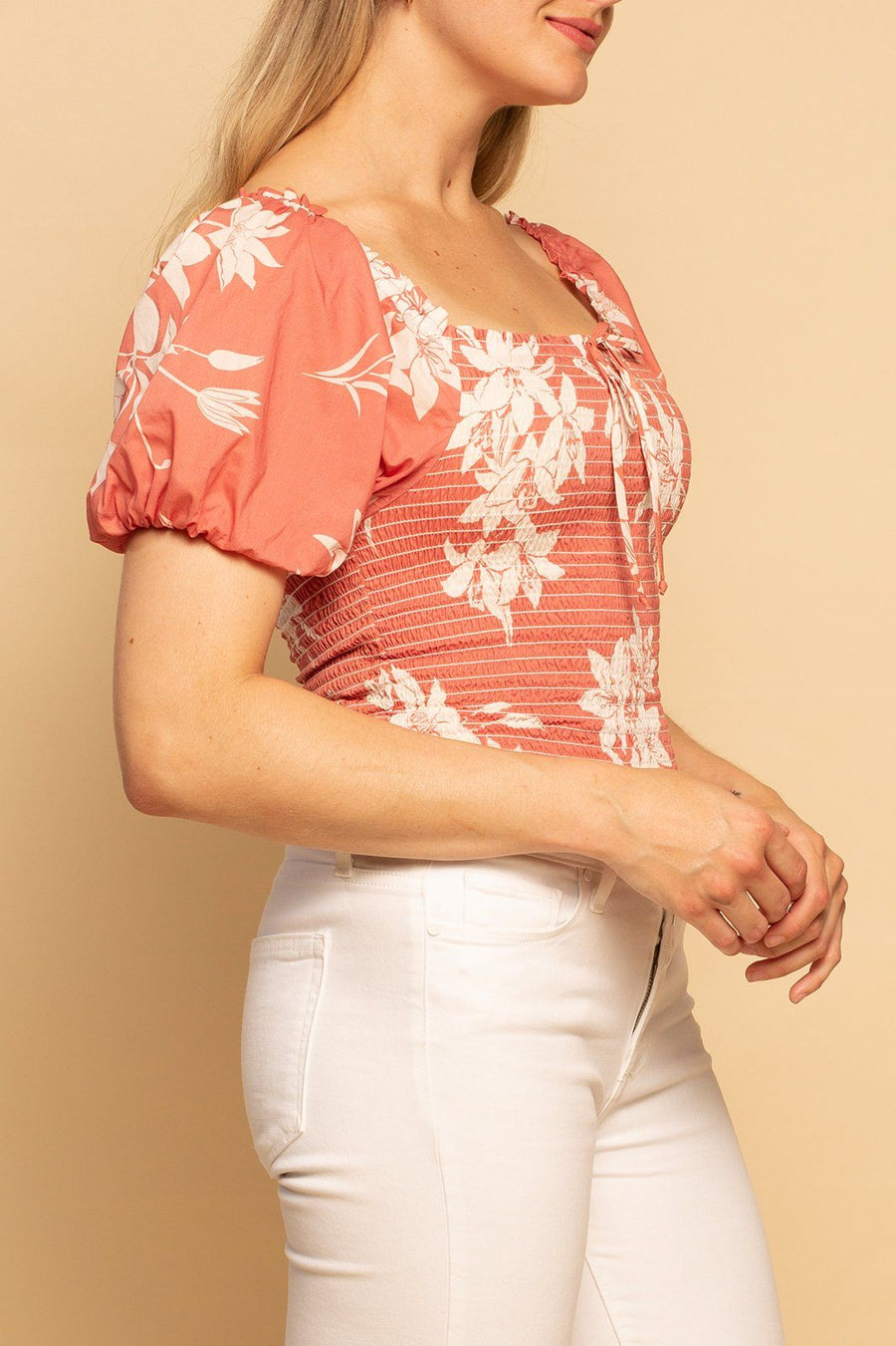 Panama Puff Sleeve top - Spring Hibiscus - Shore