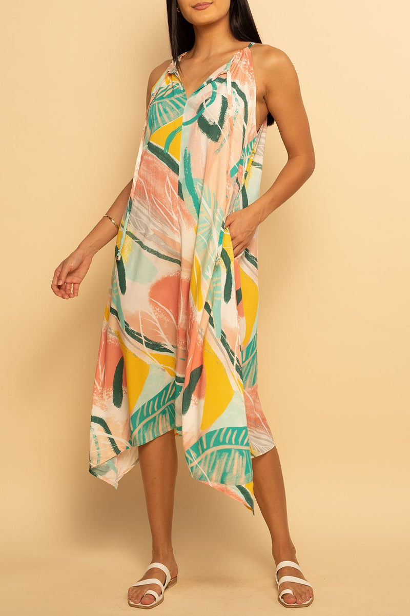 Tahiti Tie Dress - Bright Tropics - Shore