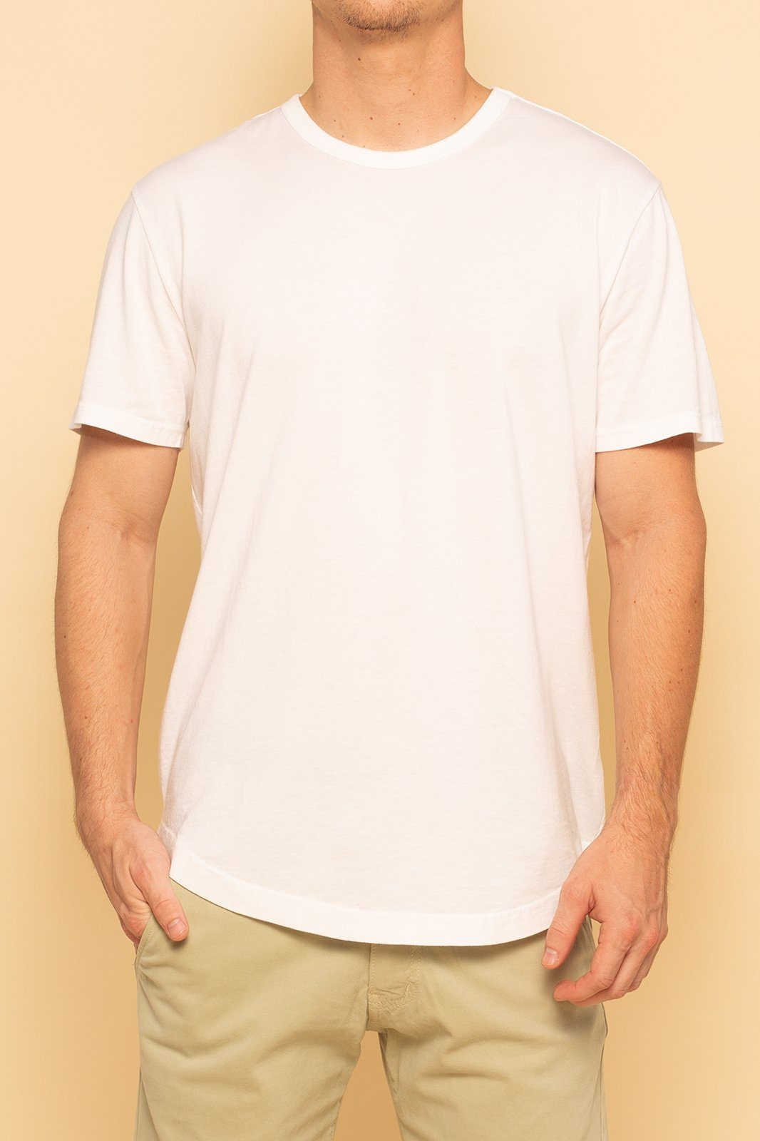 Short Sleeve Curve Hem Tee | White - Shore