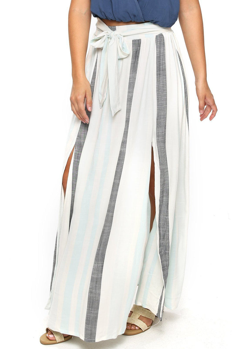 Amalfi Double Slit Skirt - Hampton Stripe - Shore