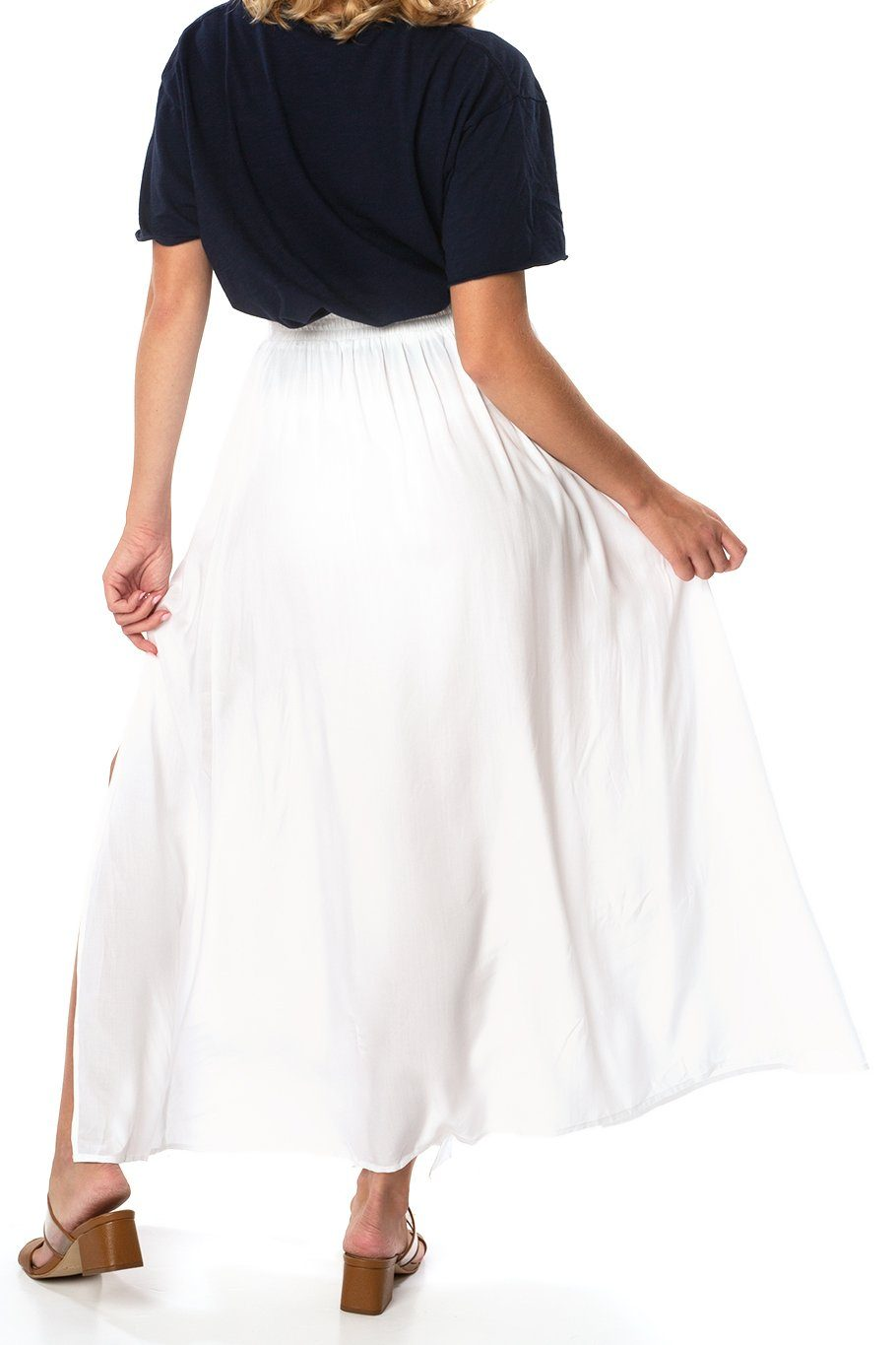 Amalfi Double Slit Skirt - White