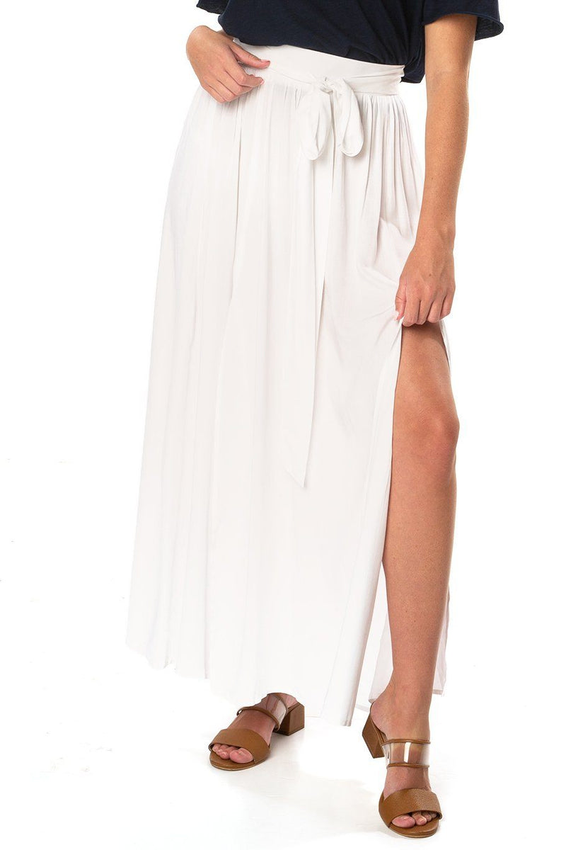 Amalfi Double Slit Skirt - White - Shore