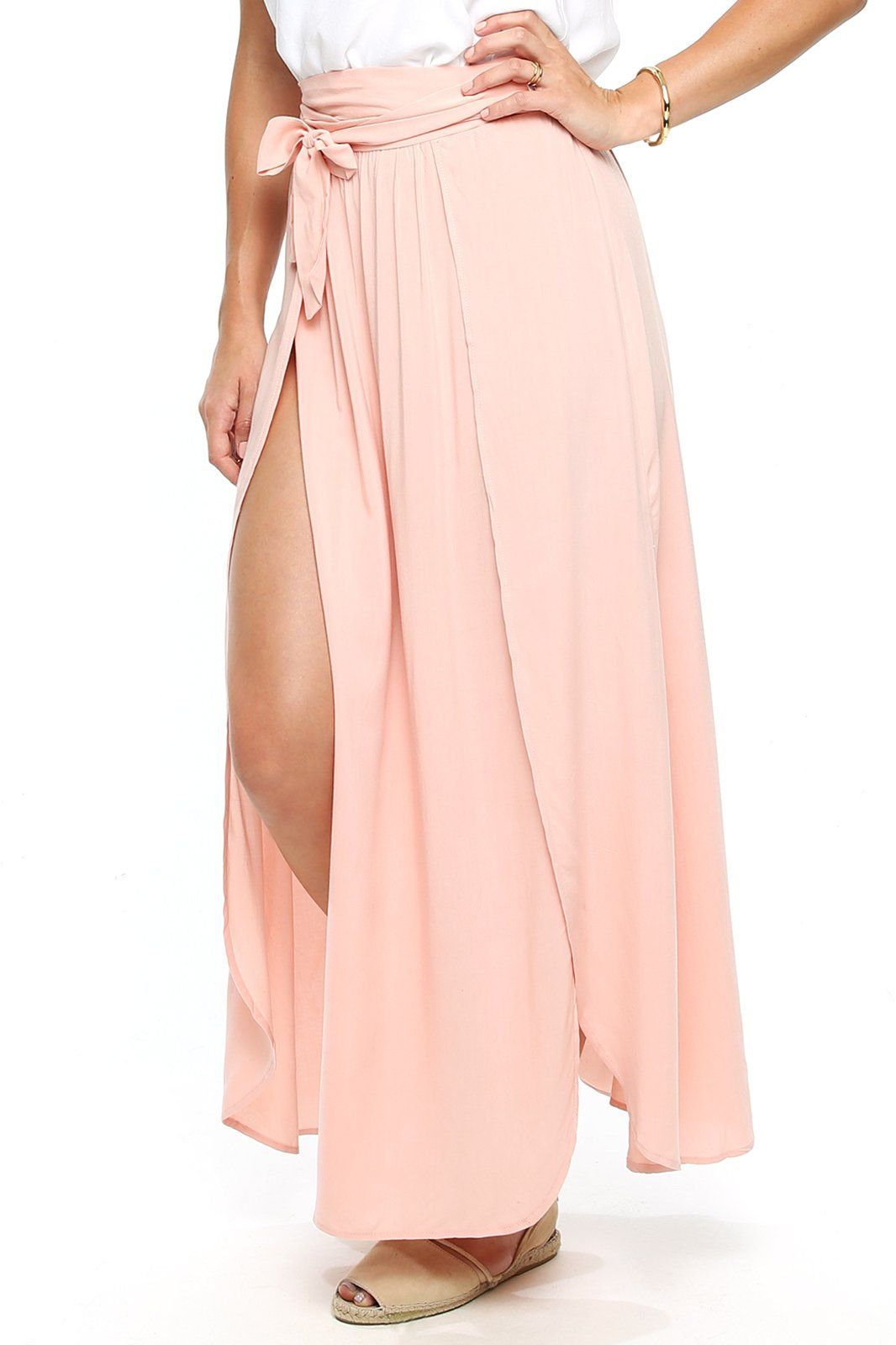 Amalfi Double Slit Skirt - Peach - Shore