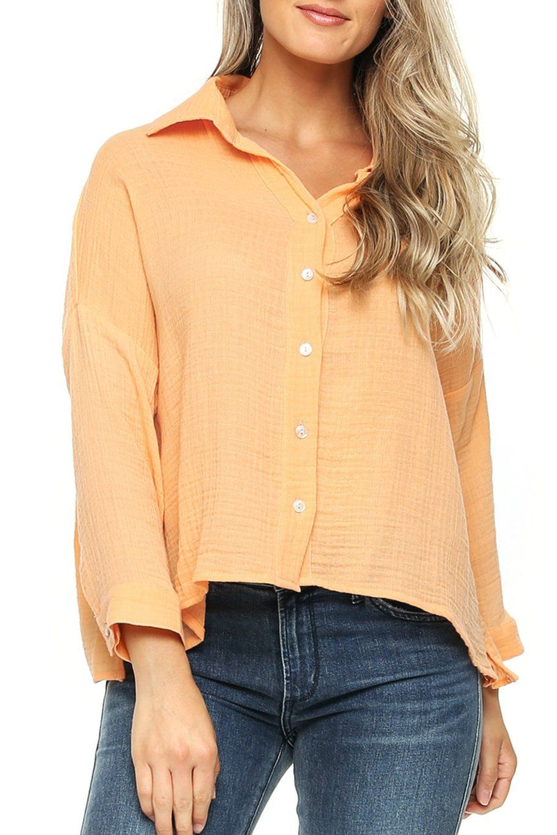 Antigua Button Down Top - Peach - Shore