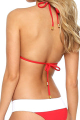 Aruba Color Block Triangle Top - Red and White