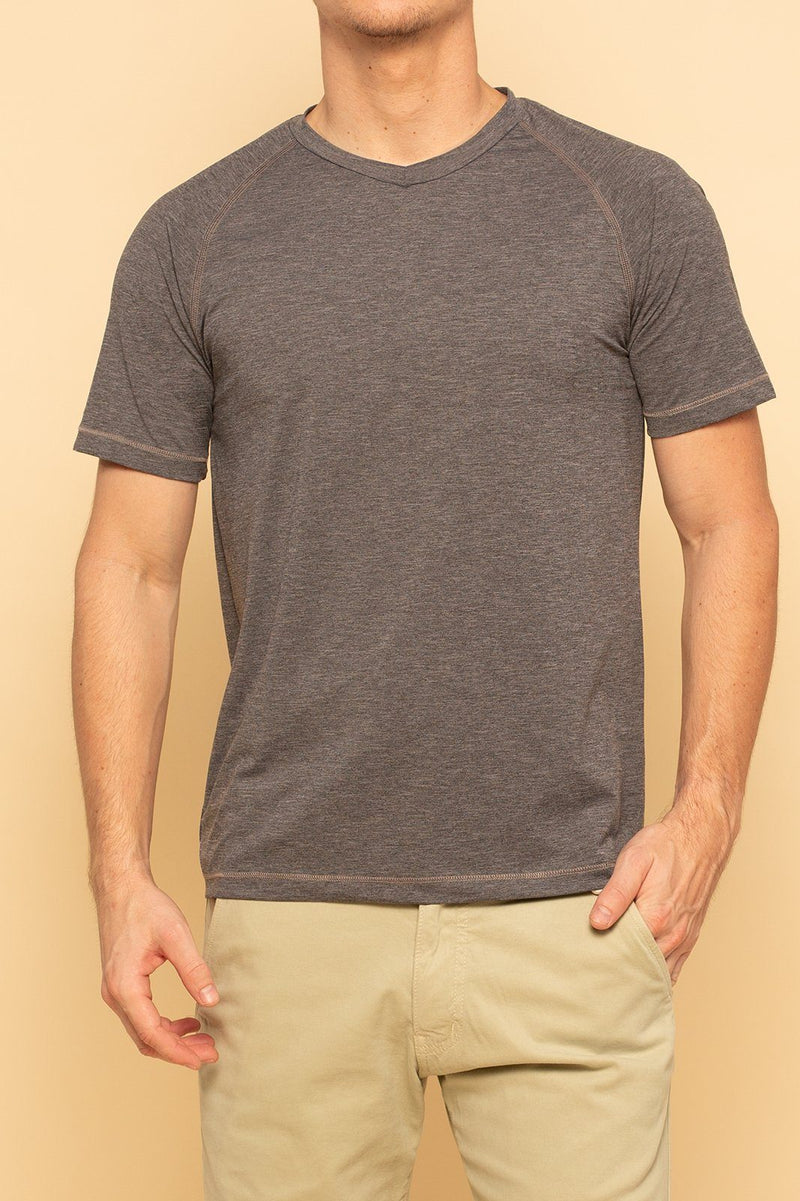 Shore Men's Active V-Neck Tee | Grey - Shore