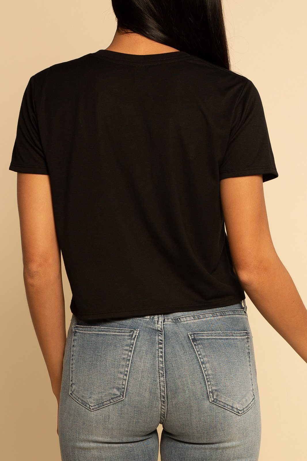 Babe Flowy Cropped Tee - Black - Shore