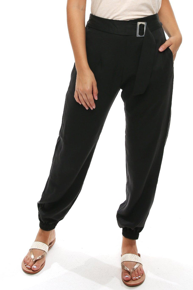 Belted San Juan Split Leg Pant - Black - Shore