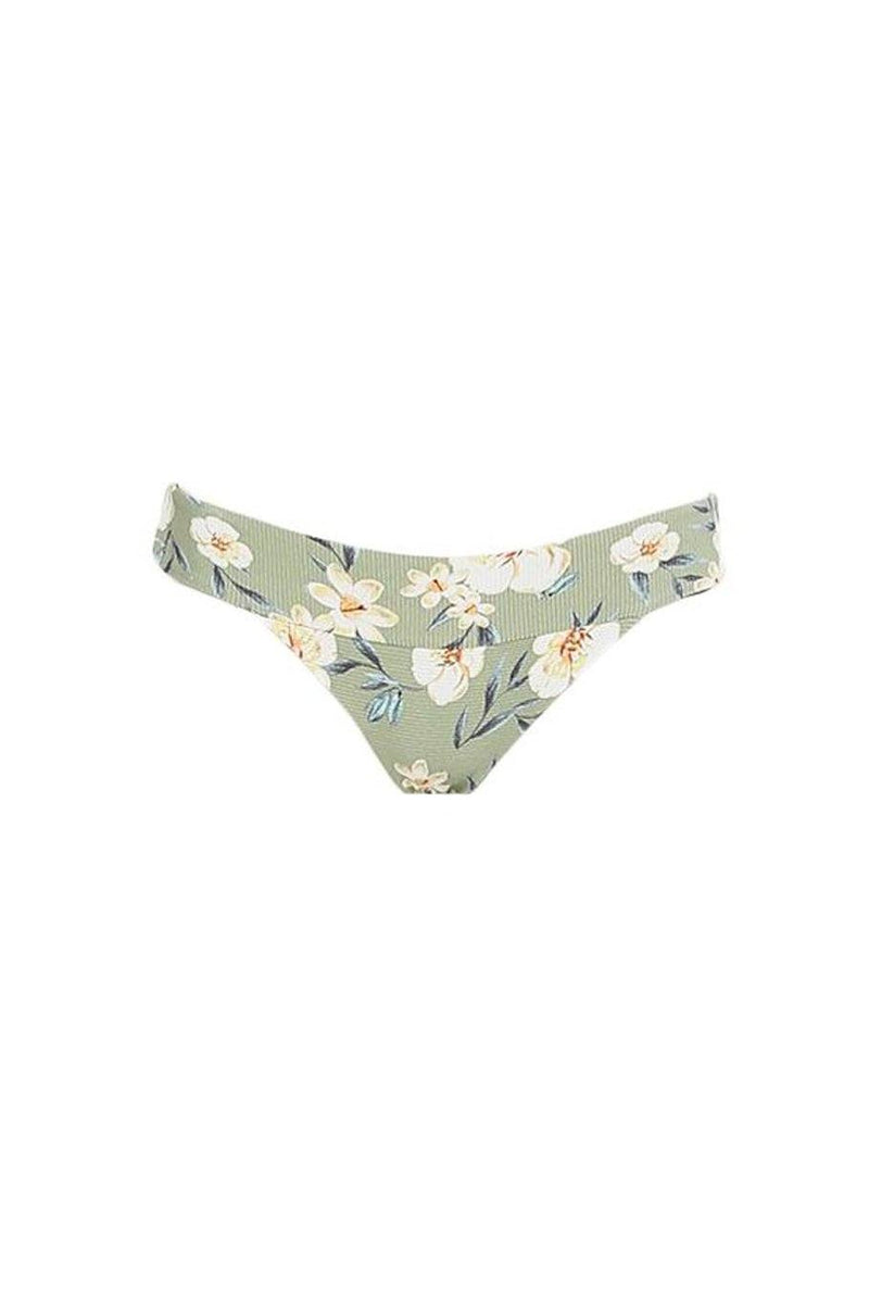 Bimini Banded Bottom - Green Floral Rib - Shore