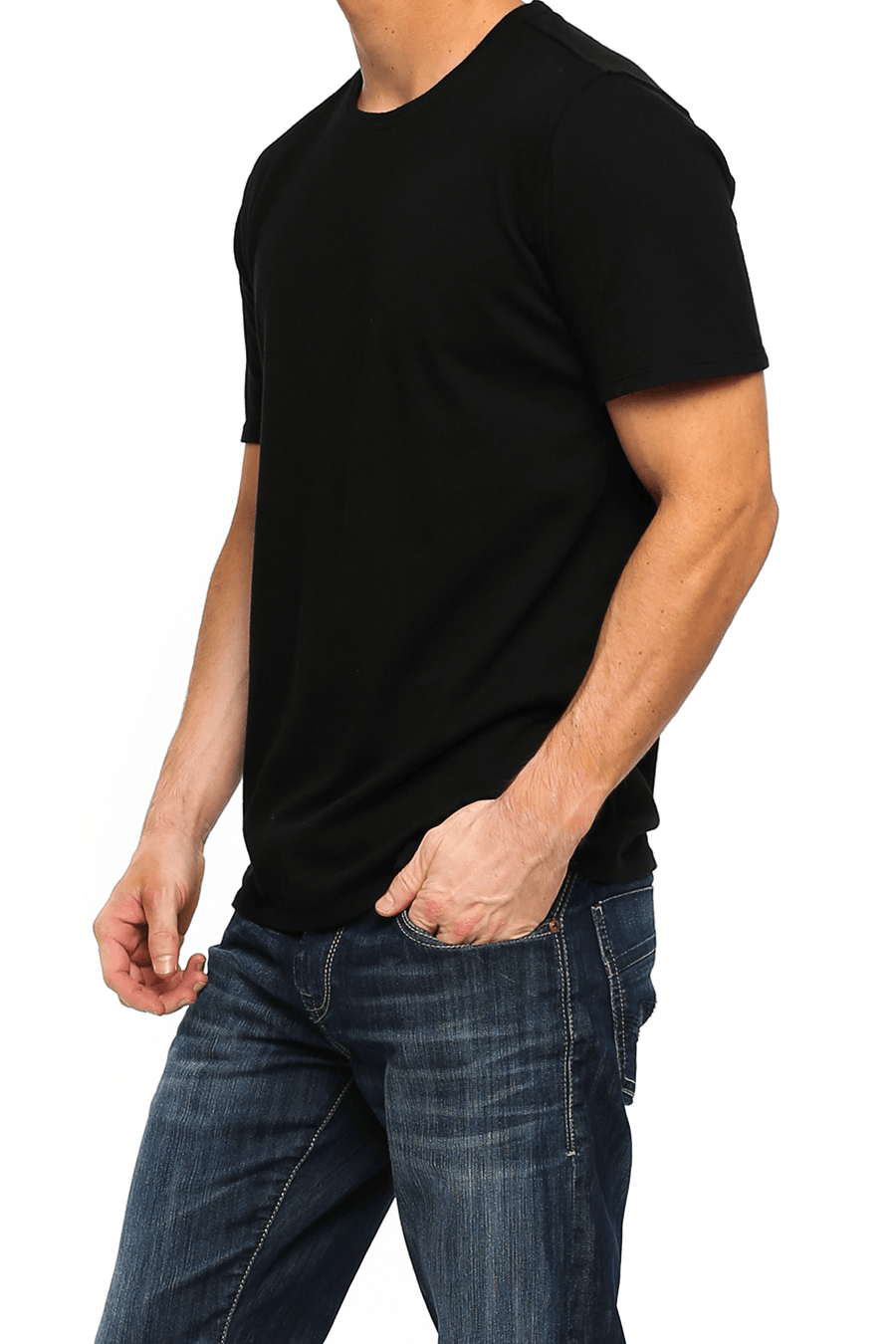 Crew Neck Short Sleeve Tee - Black - Shore