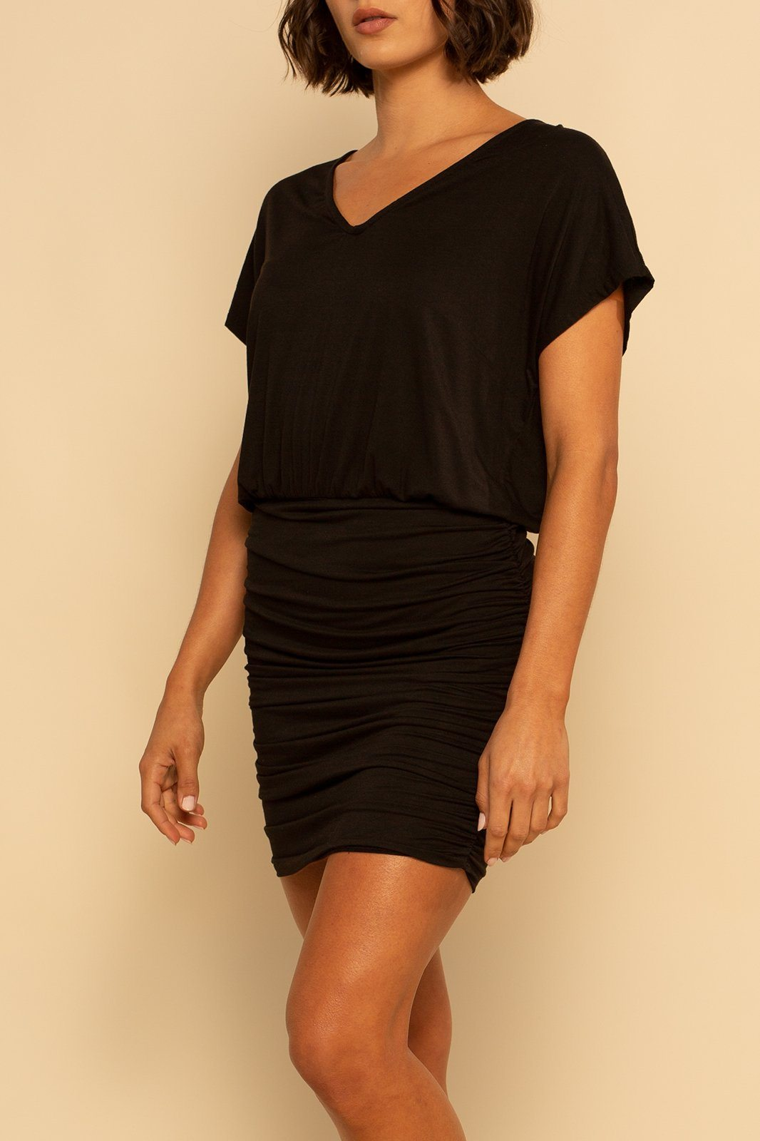 Mykonos Ruched Dress - Black - Shore