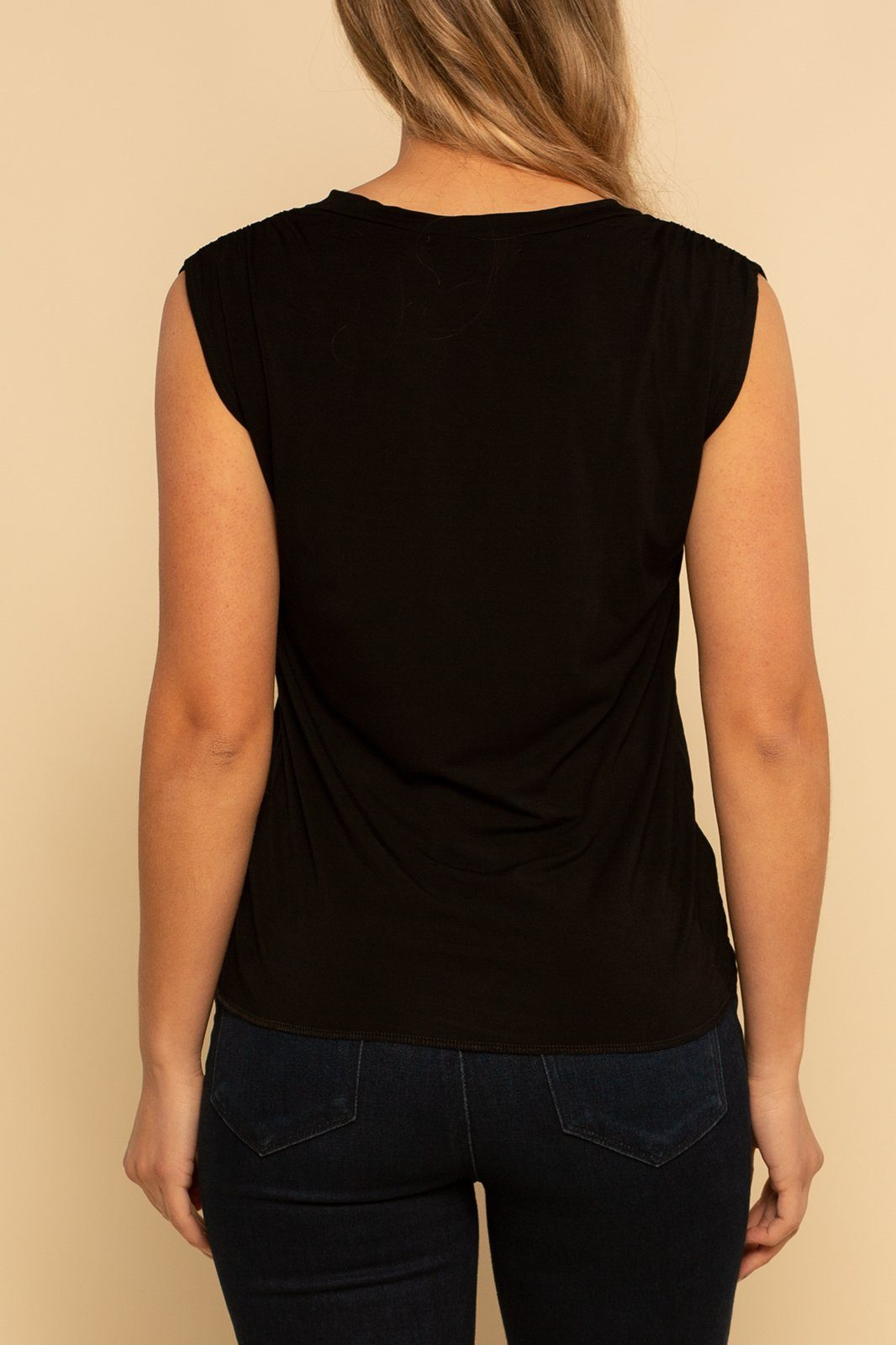 Ruched V-Neck Tank - Black - Shore